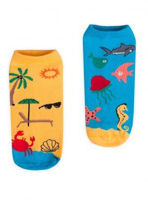 Bunte Socken Meer und Strand