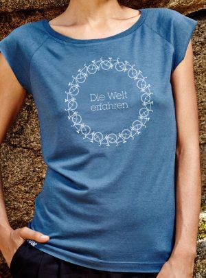 die welt erfahren Damen denim T-Shirt von awear