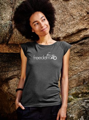 freedom damen shirt charcoal designt in Wien