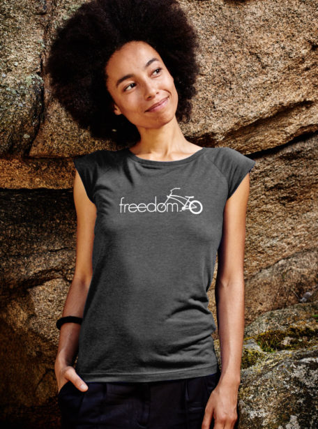 freedom damen shirt charcoal designt in Wien