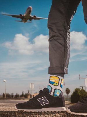 bunte Flugzeuge- ueber den Wolken Socken - Spox-Sox
