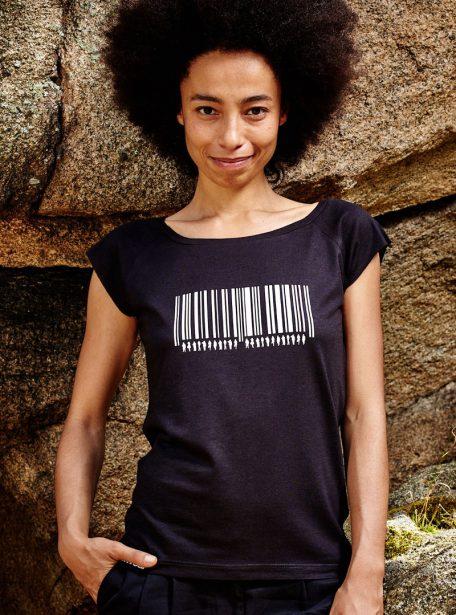 Barcode Damen Bamboo T-Shirt Schwarz