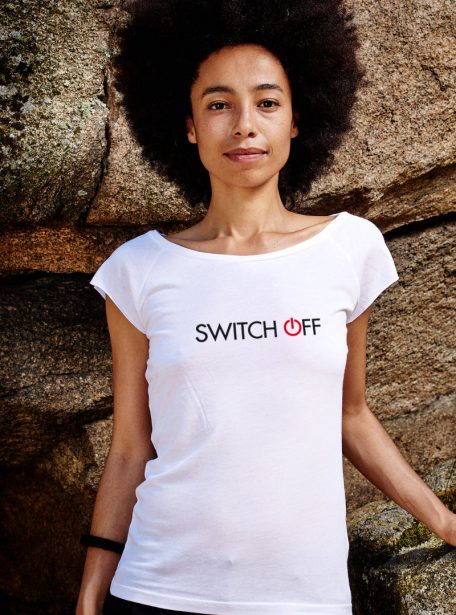 Switch off Damen Bio Tee Weiss