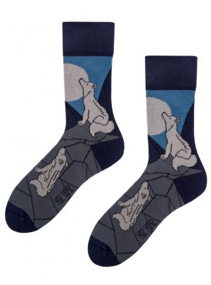 Heulender Wolf Socken - lustige Socken Spox Sox