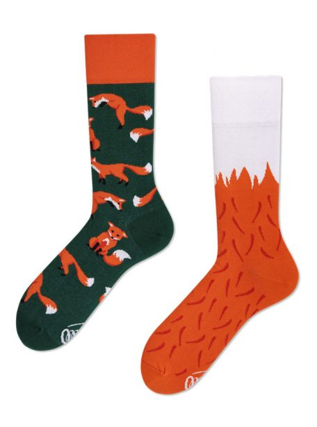 Lustige Rote Fuechse Socken - coole Many Mornings Socken